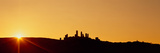 Silhouette of a Town on a Hill at Sunset  San Gimignano  Tuscany  Italy