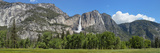 Panoramic View of Yosemite Falls and the Yosemite Meadow in Late Spring  Yosemite National Park