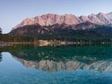 Wetterstein Mountains  Zugspitze Mountain and Eibsee Hotel Reflecting in Lake Eibsee  Bavaria  G