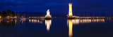 Entrance of the Harbor with the Bavarian Lion and the Lighthouse  Lindau  Lake Constance  Bavari