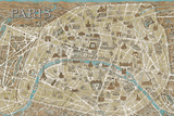 Monuments of Paris Map - Blue