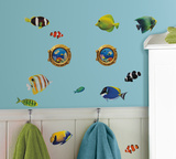 Fish Wall Decals with Lenticular Port Hole Peel & Stick Wall Decals