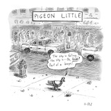 """Captionless(Pigeon Little: A city pigeon sees something drop out of the …"""" - New Yorker Cartoon"""