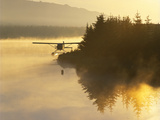 Float Plane on Beluga Lake at Dawn  Alaska  USA