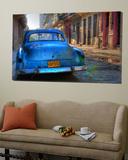 Voiture bleue à La Havane, Cuba, Caraïbes Toile Murale Géante par Nadia Isakova