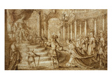 Meeting of the Queen of Sheba and King Solomon  Pencil Drawing; Exhibition from the Legendary…