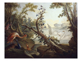 Landscape with Swans  C1765  North Wall of the Salon Demarteau