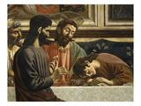 Fresco C1444-50 Last Supper Detail of Jesus Judas and John Asleep