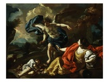 Hagar  Concubine of Abraham  and Son Ishmael in Desert Comforted by Angel