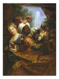 Young Black Man Holding Basket of Fruits  Young Woman Stroking Her Dog  C1682