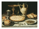 Still Life with Bread  Pastry  Chicken and Olives