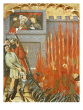 The Companions of Saint Catherine of Siena Being Burnt before the King  15th Century