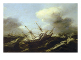 Ships in a Storm  17th Century