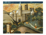 Landscape with Church  the Flight into Egypt  Verdu Retable  1430-61  Llieda School  Detail