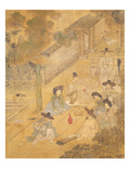 Street Musicians  from Genre Scenes  8 Panel Screen  Ink and Colour on Silk  Korea  Detail