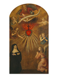 Adoration of the Sacred Heart of Jesus by Margaret Mary Alacocque  1647-90  and an Angel  1715