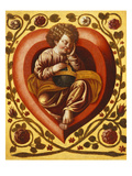Heart of Jesus with a Sleeping Child Holding a Terrestial Globe at its Centre  Late 17th Century