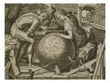 Allegory of Geometry  Engraving by F Floris  16th Century