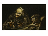 Two Old People Eating Soup 1819 Black Painting 53X85Cm
