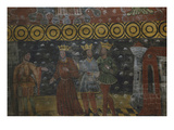 Three Kings Arriving at Jerusalem  Meeting Herod  King of the Jews  Painted Wooden Nave