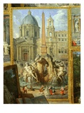 Painting of the Piazza Navona with Church of Saint Agnes