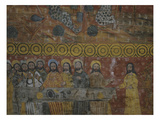 The Last Supper  Judas  on Right  Is Held by a Demon with Webbed Feet  Painted Wooden Nave