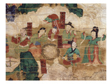Musical Scene  from Banner of Amrta-Raja  Coloured Silk  1755  Choson Period
