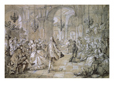 Masked Ball in a Palace  1751 Drawing