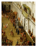 Charles Emmanuel I and Cardinal Maurizio Stand on Balcony Watching Tournament in Turin Castle