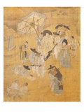 Promenade of a Notable  from Genre Scenes  8 Panel Screen  Ink and Colour on Silk  Korea  Detail