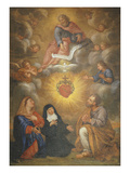Adoration of the Sacred Heart of Jesus by the Angels  Mary and Joseph and Margaret Mary Alacocque