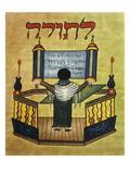 Rabbi Reading Torah  17th Century Miniature  Jewish Art