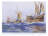 Ships of Saint Louis Ix During the 8th Crusade  1268  Watercolour Reconstruction  Late 19th Century