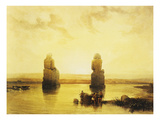 The Colossi of Memnon During the Flood  Left Bank of the Nile  Lithograph  1838-9