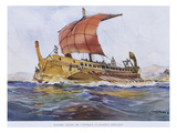 5th Century BC Greek Ship  Watercolour Reconstruction  Late 19th - Early 20th Century