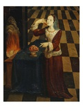 Young Lady Eats Cherries by a Wood Fire  Italianate Mural Painting  Mid 16th Century Studiolo