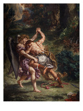 Le Combat De Jacob Et L&#39;Ange (Jacob Fighting the Angel)  1855-61 Fresco  (Detail)