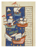 Fishermen at Sea on Large Sailing Ships  16th Century  Ottoman Miniature of the Anatolian School