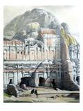 Petra  Ancient City Rediscovered by Burckhardt in 1812  Jordan  Watercolour  1839  Detail
