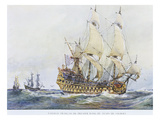 French Premier Rang  First Rating  Ship  of the Time of Colbert  Watercolour Reconstruction