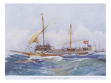 17th Century Maltese Galley Running with Wind to Stern  Watercolour Reconstruction
