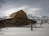 An Old Log Barn in Front of the Teton Range