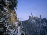 King Ludwig's Schloss Neuschwanstein  in a Snowy Mountain Landscape