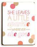 She leaves a little sparkle-coral
