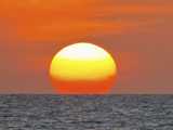 Close Up of the Sun Setting over the Gulf of Mexico