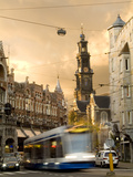 A Tram Near Westerkerk Church and Prisengracht Street