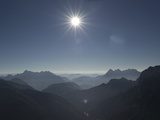 Bright Sun over Leonganger  Left  and Loferer  Right  Mountains