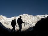Trekkers on their Way Down from Annapurna Base Camp