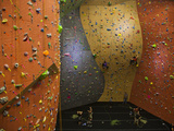 Climbers Ascend a Rock Wall at a Climbing Gym in Seattle