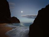 The Moon Silvers the Waves Washing Kalalau Beach